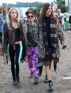Anything goes at Glastonbury: Mary Charteris, Jaime Winstone, Alexa Chung
