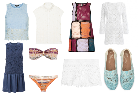 Clockwise L-R: Crochet shell top £25, topshop.com; Betty crochet detail shirt SALE NOW £45, reiss.com; Crochet patch dress £60, topshop.com; Giselle short crochet dress £228 odabash.com; Baltic dip dyed women's crochet classics £41.99 toms.co.uk; Tory Burch portofino crocheted cotton shorts £130 net-a-porter.com; Missoni metallic crochet-knit bikini £280 net-a-porter.com; Loving crochet flared dress SALE NOW £52 frenchconnection.com